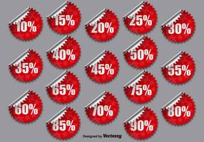 Coleção de vetores de etiquetas promocionais vermelhas