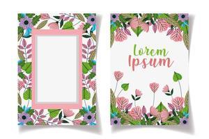 salvar a data modelo de cartões com moldura floral vetor