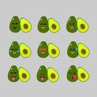 emoticon de conjunto de emoji de abacate vetor