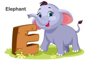 e para elefante vetor