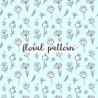 doodle floral padrão sem emenda vetor
