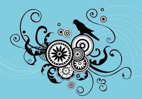 Arte de vetor de pássaro romântico