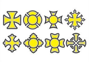 Ícones da cruz maltesa vetor