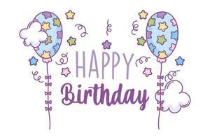 cartão de feliz aniversário com balões e estrelas vetor