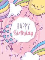 modelo de cartão de aniversário com arco-íris e balões vetor