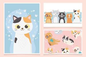 coleção de cartões com gatos fofos vetor
