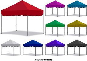 Conjunto de tendas dobradas coloridas de vetores