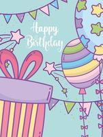 modelo de cartão de saudação de aniversário com balões coloridos vetor