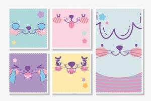 Animais fofos do Kawaii enfrenta baralho de cartas vetor