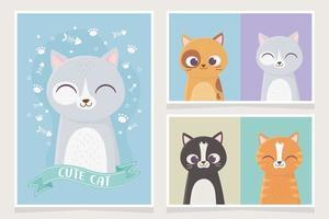 variedade de cartões com gatos fofos vetor