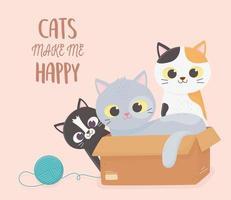 gatos fofos brincando vetor