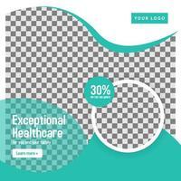 modelo de banner de círculo de mídia social médica verde-azulado vetor