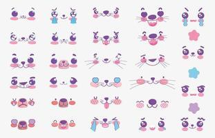 conjunto de rostos emoji de animais kawaii vetor