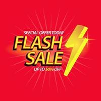 Banner de texto relâmpago de venda relâmpago para promoção de marketing