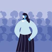mulher usando máscara médica evitando infecção viral