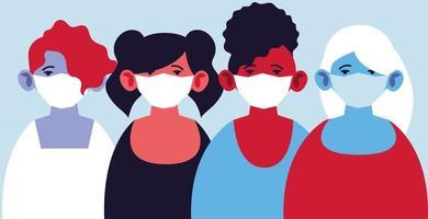 mulheres com máscaras médicas, protegendo-se contra a pandemia vetor
