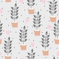 padrão de vaso de flores desenhado à mão