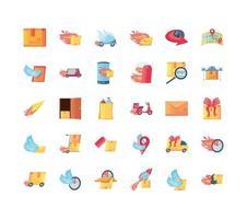 coleção de ícones de entrega rápida vetor