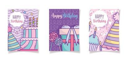 modelo de cartões de aniversário vetor