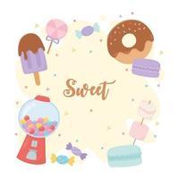 coleção de doces e guloseimas vetor