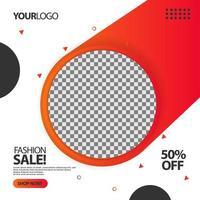 '' venda de moda '' banner de postagem de mídia social em círculo