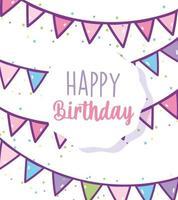 cartão de aniversário com guirlanda festiva