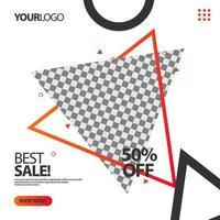 triângulo '' melhor venda '' triângulo banner de postagem de mídia social