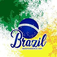 fundo de respingos de tinta grunge do dia da independência do brasil vetor