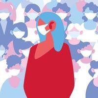 mulher usando máscara médica evitando infecção