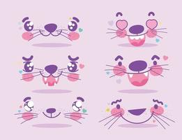 Conjunto de emoji de expressões faciais de animais fofos kawaii vetor