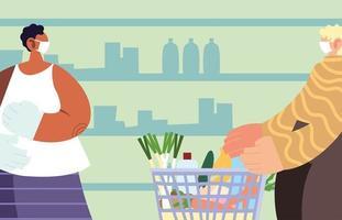 homens usando máscara médica no supermercado com precauções por coronavírus vetor