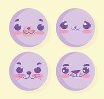 conjunto de emoji de animal kawaii vetor