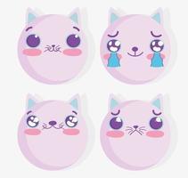 conjunto emoji gato kawaii vetor