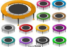 Conjunto de ícones de trampolim para desenhos animados de vetores