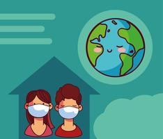 planeta terra e pessoas com máscaras vetor