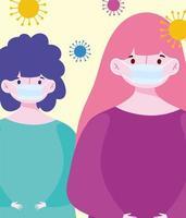 mulheres jovens usando máscaras médicas vetor