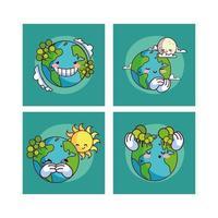 quatro kawaii sorrindo planeta terra vetor