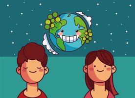 mundo planeta terra e pessoas vetor