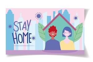 modelo de cartão de coronavírus para ficar em casa vetor