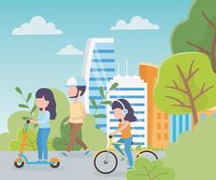 mulheres andando de bicicleta e scooters elétricas na cidade vetor