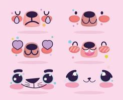 Conjunto de emoji de expressões de rosto de urso kawaii vetor