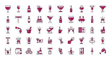 conjunto de ícones de celebração de bebida de vinho vetor
