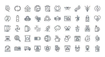conjunto de ícones de linha de ecologia e sustentabilidade vetor