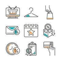 conjunto de ícones de arte de linha de negócios locais vetor