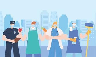 quatro trabalhadores essenciais na paisagem urbana vetor