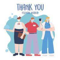 modelo de cartão feminino de trabalhadoras essenciais vetor