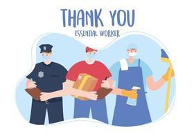 modelo de cartão de agradecimento com trabalhadores essenciais vetor