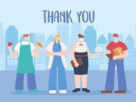 cartão de agradecimento com trabalhadores essenciais na paisagem urbana vetor