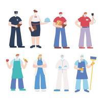 trabalhadores essenciais usando máscaras conjunto de design plano vetor