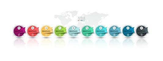 círculo moderno e rótulo infográfico com 10 etapas